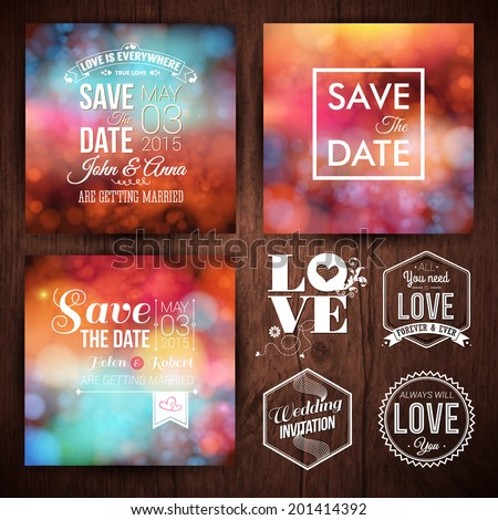 Save the date for personal holiday cards. Wedding invitation set of typography design labels on a wooden background. Vector image.  - stock vector