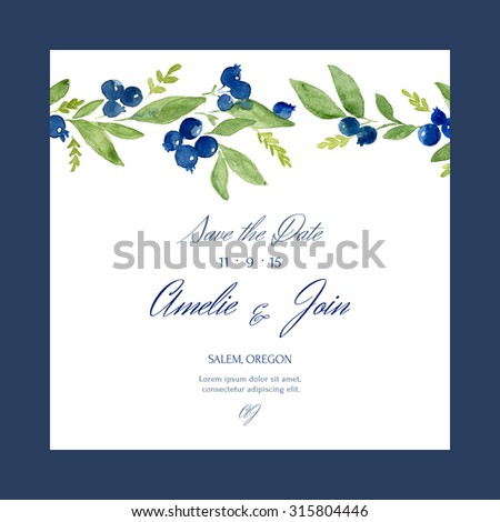 Save the date. Gentle template with traced watercolor blueberry and leaves. Hand drawn invitation easy editable. Perfect for wedding invitation or save the date, RSVP. - stock vector