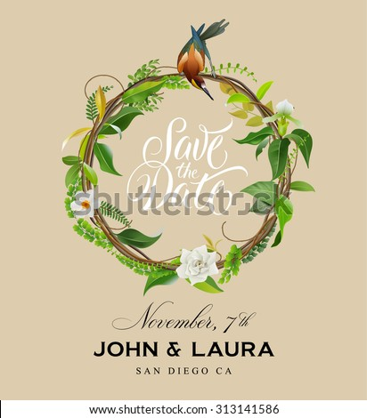 Save The Date Invitation Design with Floral Wreath - stock vector