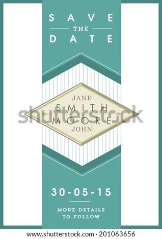 Save the date invitation green ribbon theme - stock vector