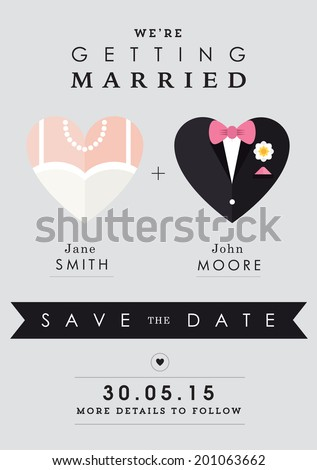 Save the date invitation heart theme - stock vector
