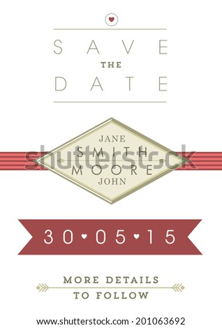 Save the date invitation red and gold ribbon theme - stock vector