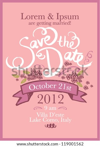 save the date invitation template vector/illustration - stock vector