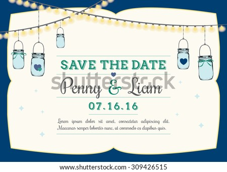 Save date invitation hanging mason jars stock vector royalty free save the date invitation with hanging mason jars wedding reminder template with navy blue frame stopboris Gallery