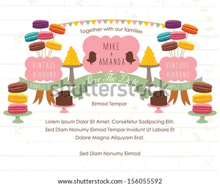 Save the date - Macaroons and Desserts Theme - stock vector