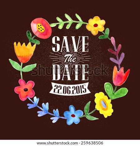 Save the date romantic wreath illustration - stock vector