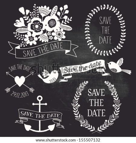 Save the date set on chalkboard