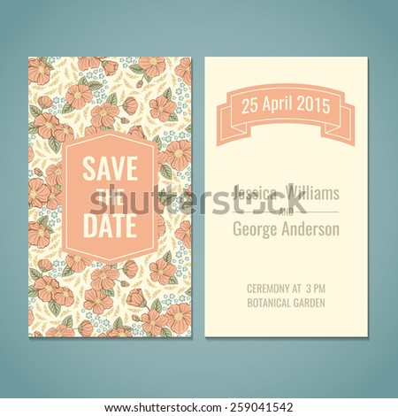 Save the date, shower, wedding, greeting card template. - stock vector
