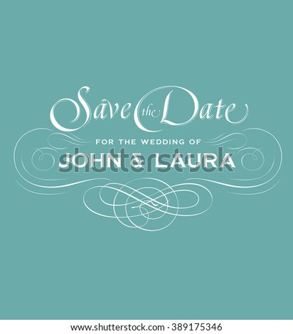 Save the date vintage card with decorative lettering - stock vector