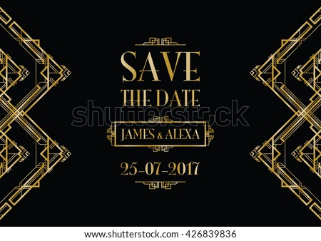 save the date wedding invitation - stock vector