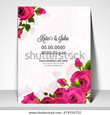 Invitation Card Sample Design. Save the Date  Wedding Invitation Card template design decorated with beautiful pink rose flowers Template Stock Vector 674554702