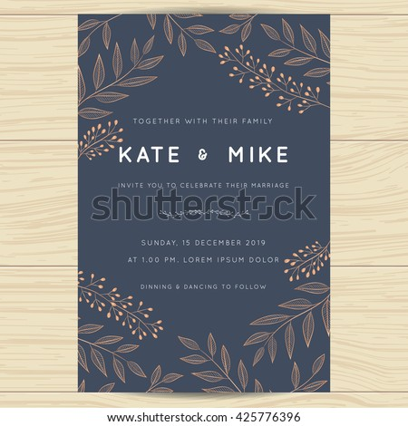 Save the date, wedding invitation card template with copper color flower floral background.Vector illustration. - stock vector