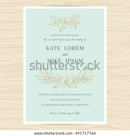 Save the date, wedding invitation card template with golden color flower wreath. Vintage design. Vector illustration. - stock vector