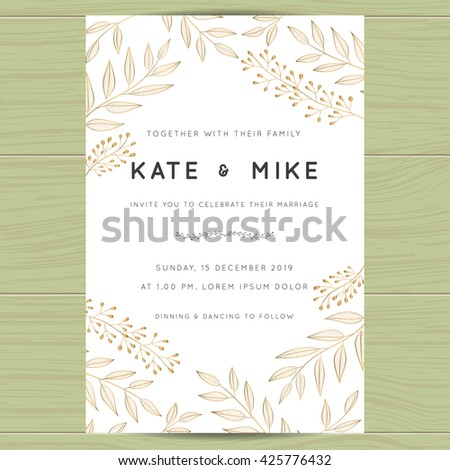 Save the date, wedding invitation card template with golden flower floral background.Vector illustration. - stock vector