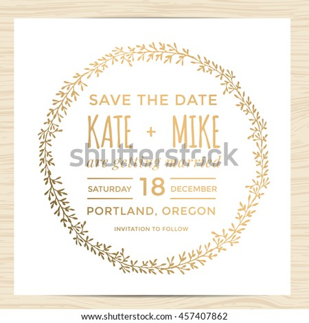 Save Date Wedding Invitation Card Template Stock Vector