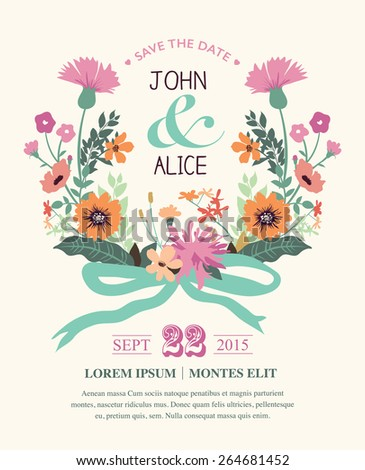 Save the date. Wedding invitation card with beautiful flowers wreath. - stock vector