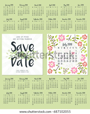 Save Date Wedding Invitation Doublesided Card Stock Vector