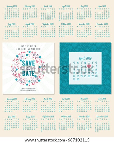 Save Date Wedding Invitation Doublesided Card Stock Vector HD - Save the date calendar template free
