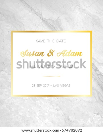 Save Date Wedding Invitation Template Marble Stock Vector - Save the date text template