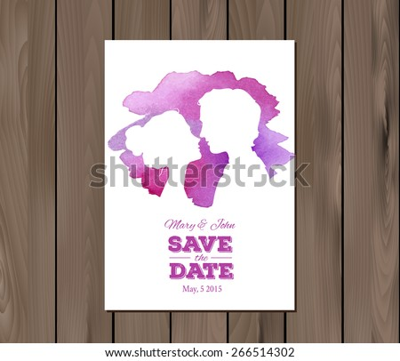 Save the date wedding invitation with watercolor elements and profile silhouettes of man and woman. Card template on a wooden background. EPS 10 vector. Free fonts used: Nexa Rust, Alex Brush, Crimson - stock vector