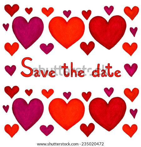 Save the date white greeting card with hearts.