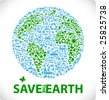 save the earth - earth made from ecology icons sustainable development & environment concept - stock photo