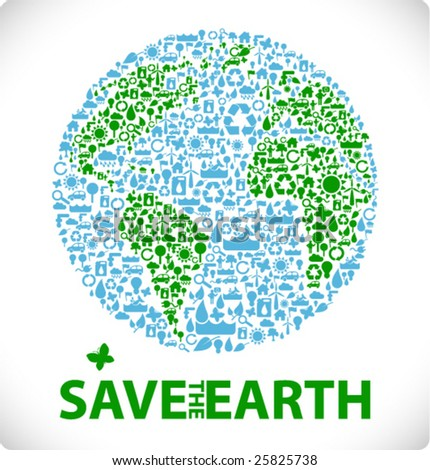 save the earth - earth made from ecology icons sustainable development & environment concept - stock vector