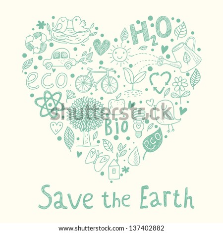 Save the earth. Ecology concept card in cartoon style. Romantic concept background. - stock vector