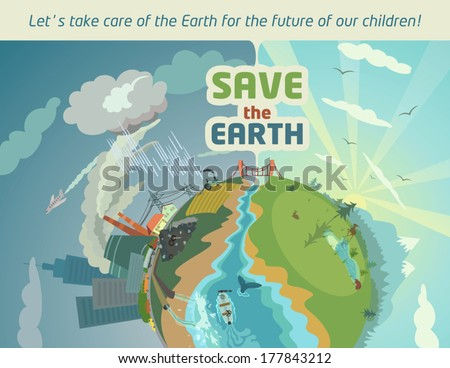 Save the Earth for the future of our children. Eco poster - stock vector