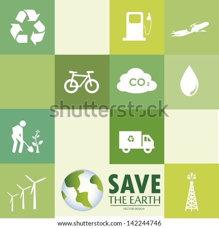 save the earth icons over green background vector illustration - stock vector