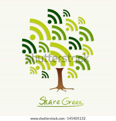 Save the Earth tree idea with share icon set. This illustration is layered for easy manipulation and custom coloring - stock vector