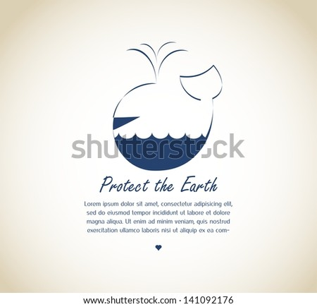save the earth, whale on retro background - stock vector