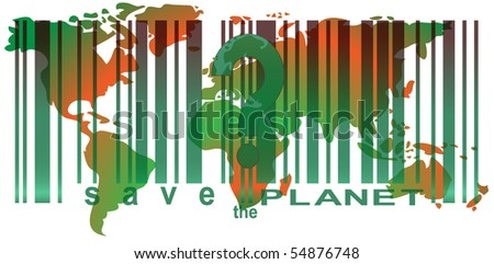 Save The Planet (bar code) - stock vector