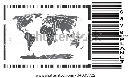 Save The Planet (barcode) - stock vector