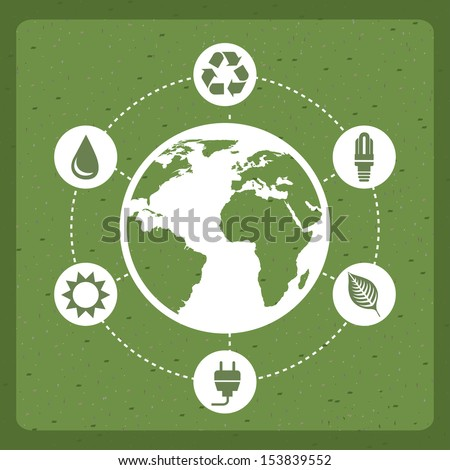 save the planet design over green background vector illustration