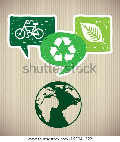 save the planet design over lineal background vector illustration