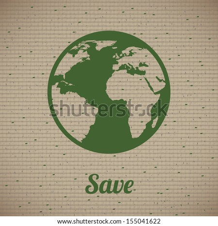save the planet design over lineal background vector illustration - stock vector