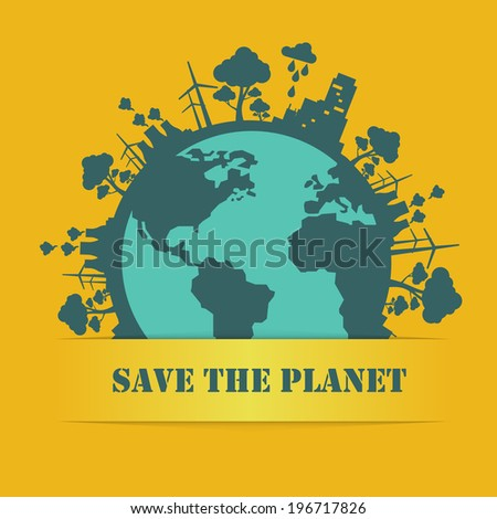 save the planet flat design