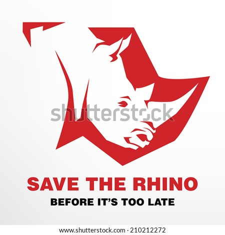 Save the Rhino before it's too late concept - stock vector