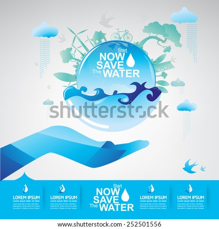 Save The Water Concept - stock vector