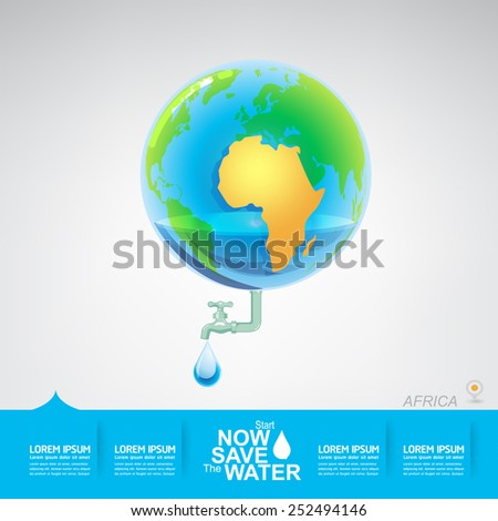 Save The Water in Africa - stock vector