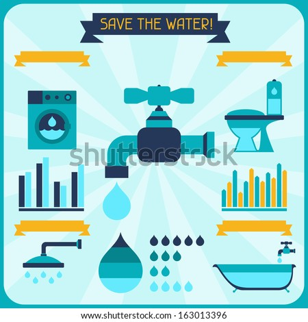 Save the water. Poster with infographics in flat style. - stock vector