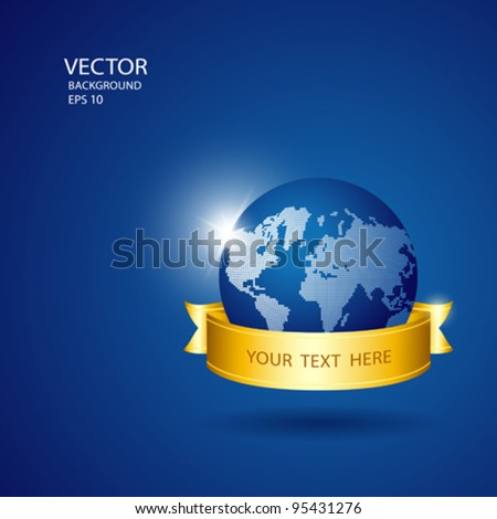 Save the world blue globe with gold ribbon, vector illustration - stock vector