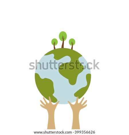 Save the world with our hands, concept image on save the world.