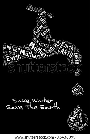Save water campaign info-text /word cloud composed in the shape of runnning water tap - stock vector