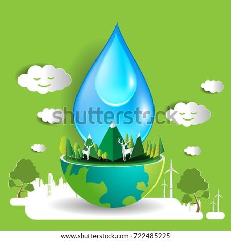 save water concept design vector eco stock vector 722485225 rh shutterstock com Work Environment Clip Art Global Business Environment