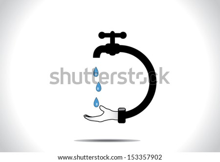 Save water concept design vector illustration art : A human hand holding hand to save blue water droplets falling from a tap or faucet connected to the hand - stock vector