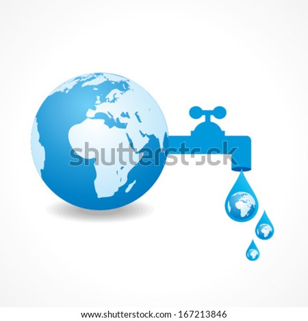 save water concept with earth and tape stock vector - stock vector
