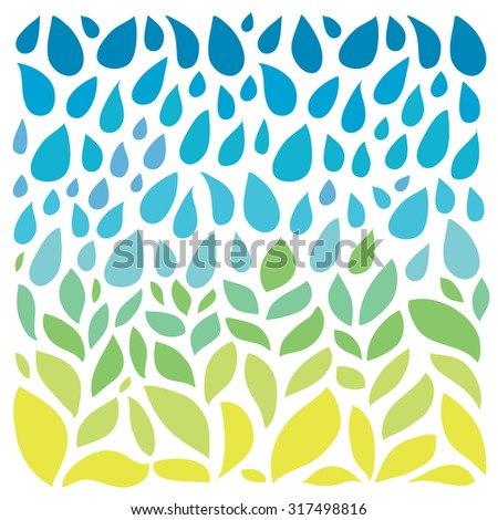 Save water - save life. Hand drawn drops and green leaves pattern.  - stock vector
