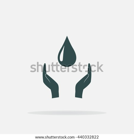 Save water sign icon. Hands protect cover water drop symbol. Environmental protection. Gray flat square button with shadow. Modern UI website navigation. Vector